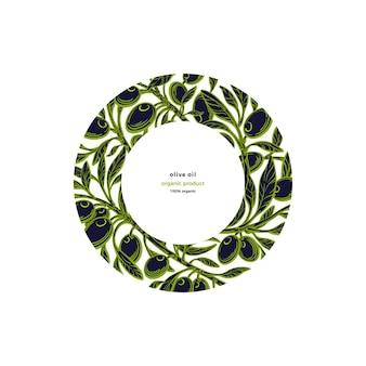 Modello di cornice oliva nel cerchio verde ramo frutta fresca grafica disegnata a mano illustrazione