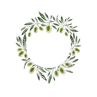 Uliveto frutti verdi rustico ramo trama ghirlanda italiana modello vintage