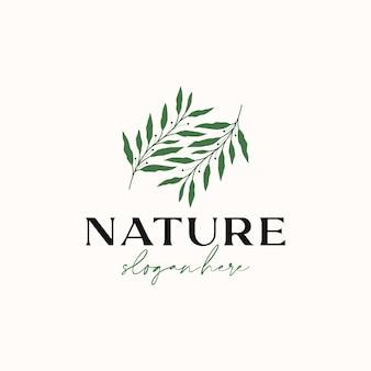 Modello di logo di ramo di foglia di ulivo isolato in sfondo bianco