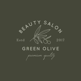Foglia di olivo e modello di progettazione del logo di frutta in stile lineare semplice e minimale. emblema botanico vettoriale con brunch per beauty studio, salone spa, cosmetici biologici