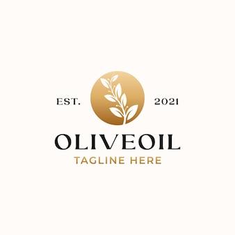 Modello di logo di colore sfumato dorato foglia d'ulivo isolato su bianco