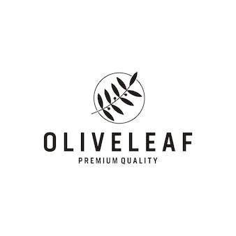 Logo della linea scura di ispirazione foglia d'oliva Vettore Premium