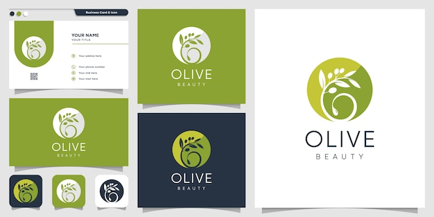 Modello di progettazione logo e biglietto da visita verde oliva, marchio, bellezza, spa, cosmetici