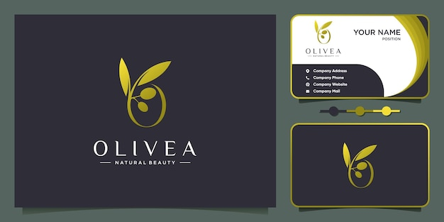Concetto di logo oliva con stile creativo moderno vettore premium