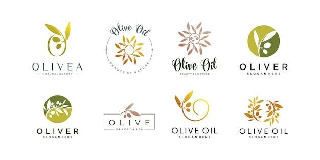 Logo design oliva con stile di linea creativo vettore premium