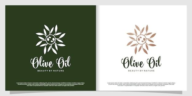 Logo oliva con elemento creativo moderno vettore premium parte 1