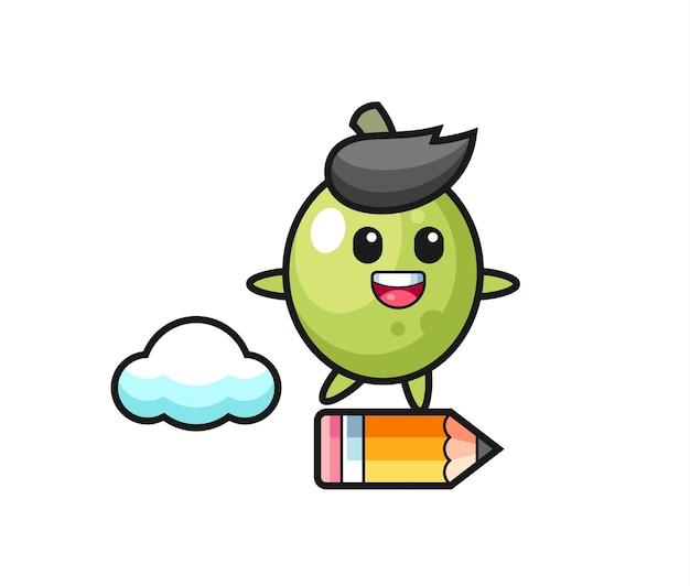 Illustrazione di mascotte oliva che cavalca una matita gigante, design in stile carino per maglietta, adesivo, elemento logo