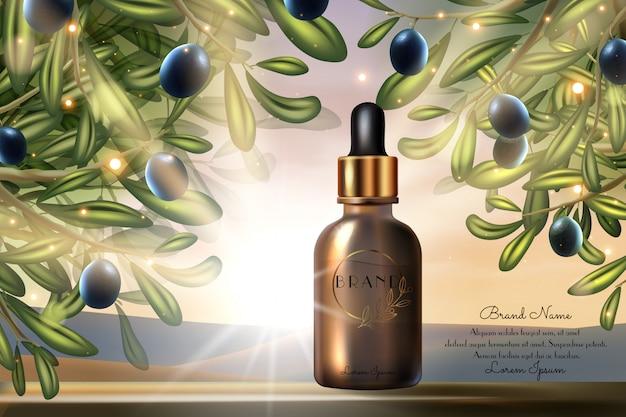 Prodotto di bellezza all'olio d'oliva, illustrazione del pacchetto cosmetico. realistico design promozionale 3d, bottiglia di vetro per il trattamento della cura della pelle del siero del viso e sfondo verde del manifesto di cosmetologia della natura solare