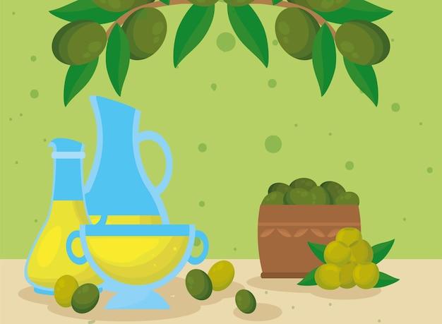 Scatola olio d'oliva e foglie con contenitori