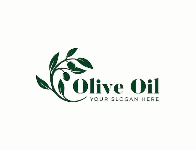 Design vintage logo ramo di olio d'oliva