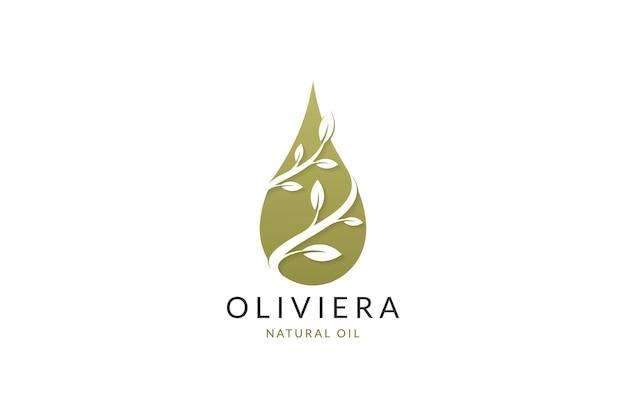 Olio d'oliva, gocciolina, goccia d'acqua con fiore, foglia, foglie logo design vettore