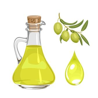 Olio d'oliva in ramo di bottiglia di vetro e goccia