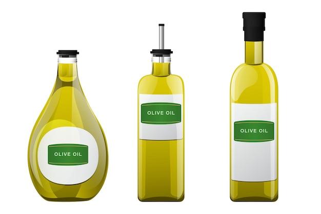 Bottiglia di vetro di olio d'oliva in stile cartone animato.