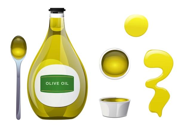 Bottiglia di vetro di olio d'oliva, macchia, ciotola e cucchiaio in stile cartone animato.