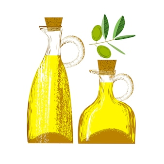 Olio d'oliva in una bottiglia di vetro. illustrazione di vettore con struttura disegnata a mano di vettore unico. rametto d'oliva.