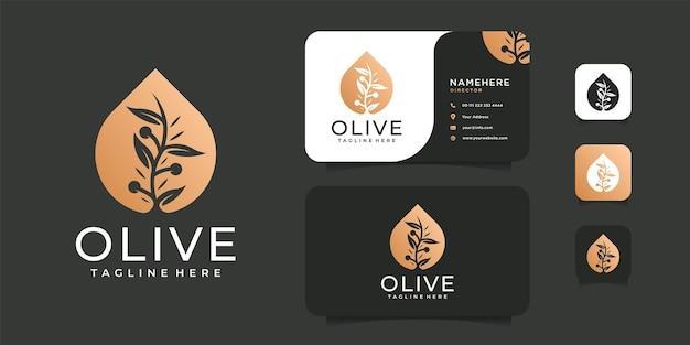 Design del logo di bellezza fiore di lusso oro olio d'oliva