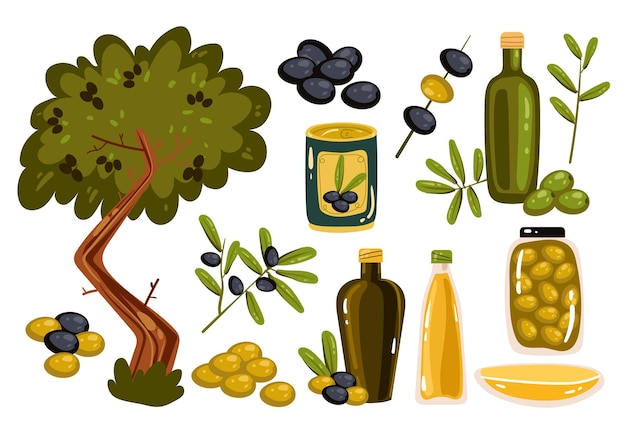 Collezione di elementi di scenografia isolata olio d'oliva