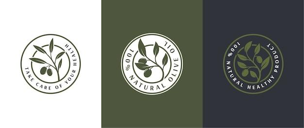 Modello di logo di etichetta 3 di olio d'oliva