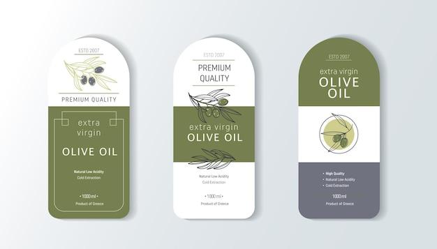 Set di etichette per olio d'oliva modelli di design per il confezionamento di olio