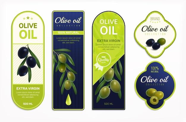 Le etichette dell'olio d'oliva progettano l'illustrazione isolata realistica stabilita