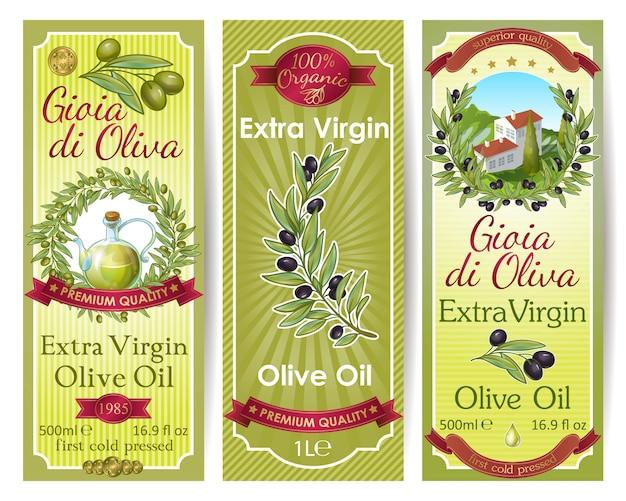 Set di etichette di olio d'oliva