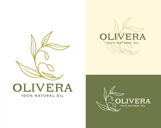 Linea di olio d'oliva logo contorno ramo botanico con foglie e con frutta in uno stile moderno e minimale