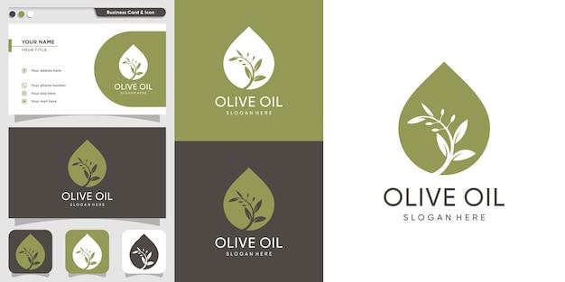 Logo di olio d'oliva e modello di biglietto da visita, marca, olio, bellezza, verde, icona, salute,