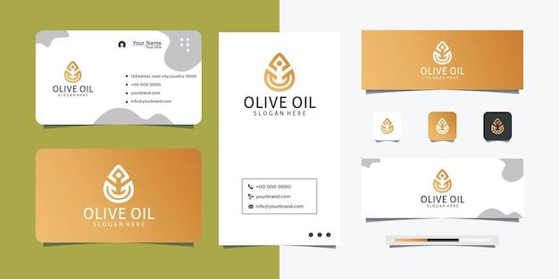 Design semplice del logo dell'olio d'oliva e biglietto da visita