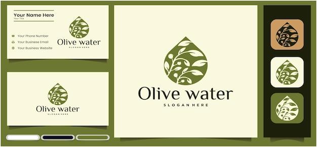 Insieme di modelli di progettazione del logo dell'olio d'oliva olio d'oliva e biglietto da visita con verde