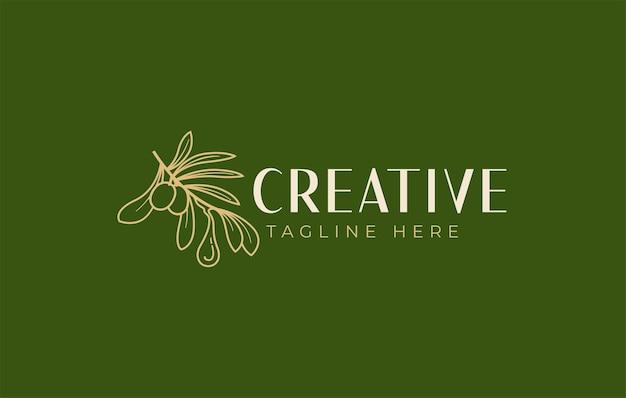 Modello di progettazione del logo dell'olio d'oliva vettore di un ramo estetico di un ulivo che rilascia una goccia di olio