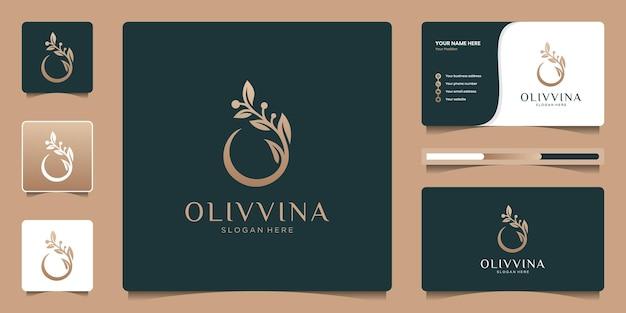 Modello di progettazione del logo dell'olio d'oliva con biglietto da visita. combinazione creativa lettera o e simbolo dell'icona del ramo.