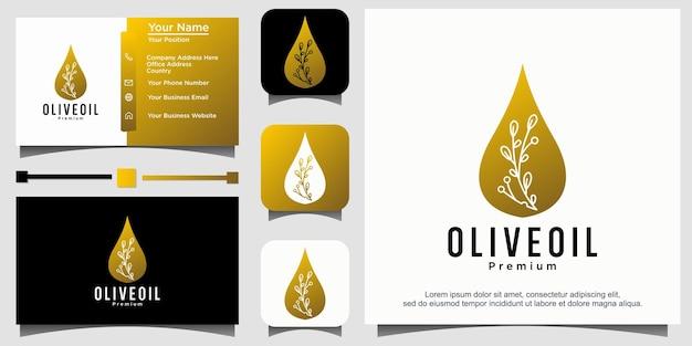 Vettore di disegno del logo dell'olio d'oliva