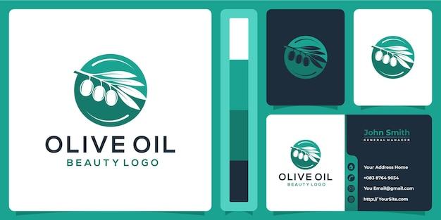 Disegno di marchio di olio d'oliva con il concetto di biglietto da visita
