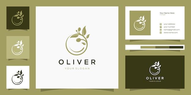 Disegno di marchio di olio d'oliva con modello di biglietto da visita