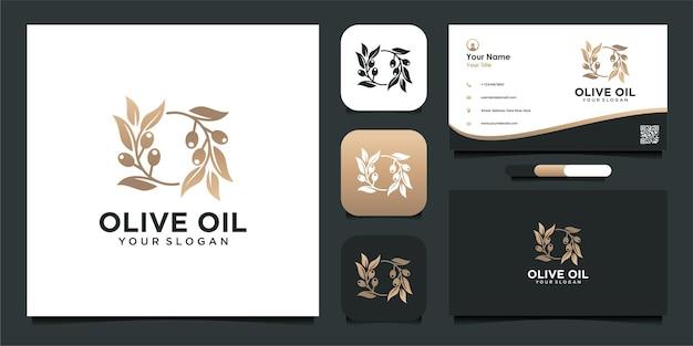 Design del logo dell'olio d'oliva con biglietto da visita
