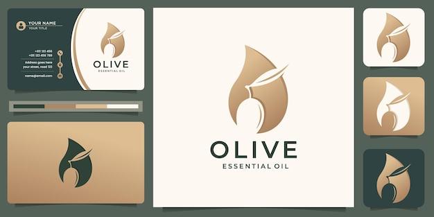 Modello logo olio d'oliva.combinazione olio e ramo d'ulivo in sagoma sagoma.logo con biglietto da visita