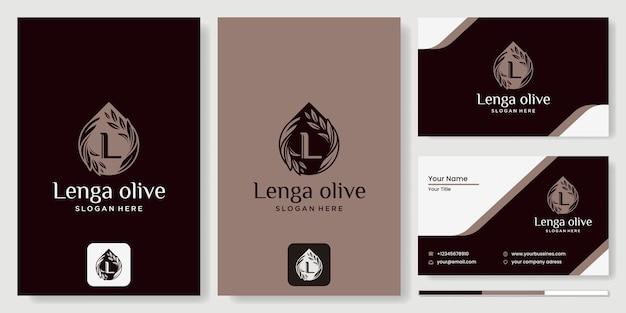 Logo dell'olio d'oliva con il concetto di foglia e acqua l, prodotto biologico. ramo d'ulivo vettoriale con logo foglia e drupa. logo moderno dell'olio d'oliva