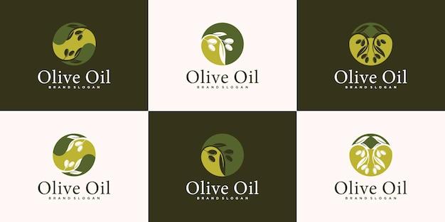 Logo dell'olio d'oliva con concetto di foglia e acqua, ramo d'ulivo con drupa di foglie e biglietto da visita vettore premium