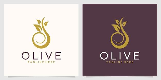 Design del logo della natura dell'olio d'oliva