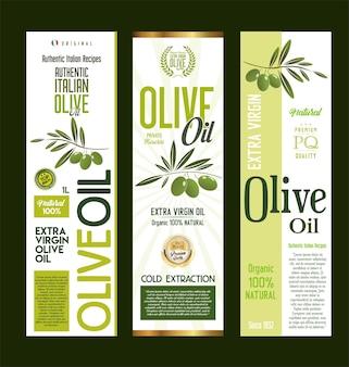 Collezione di etichette per bottiglie di design per imballaggi di olio d'oliva