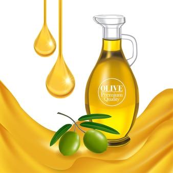 Illustrazione realistica di olio d'oliva