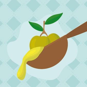 Cucchiaio e semi di olio d'oliva