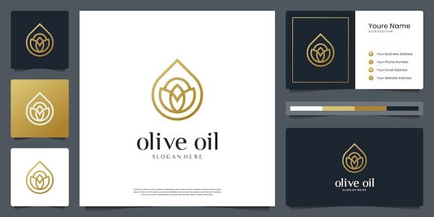 Olio d'oliva o gocce d'acqua di lusso per bellezza, cosmetici, yoga e spa. logo e biglietto da visita