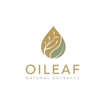 Olio d'oliva con design del logo di goccioline e foglie di fiori Vettore Premium
