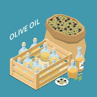 Composizione isometrica di produzione di olive