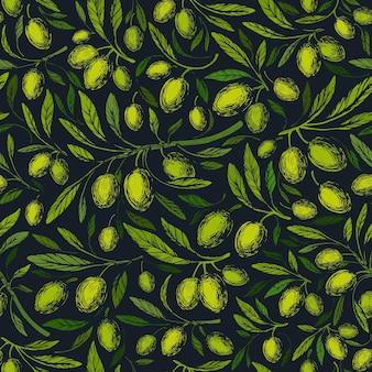 Modello senza cuciture verde oliva. vintage ▾
