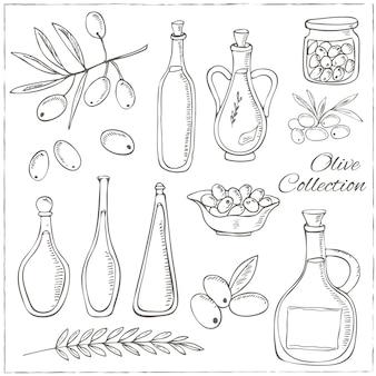 Set di schizzo di oliva con ramo di albero e bottiglia di olio