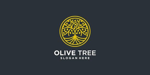 Estratto del logo dell'olivo con stile emblema vettore premium