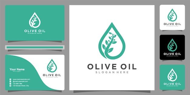 Design del logo dell'olivo e dell'olio e biglietti da visita elegantipremium vector