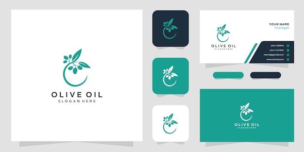 Disegno di marchio e biglietti da visita di ulivo e olio